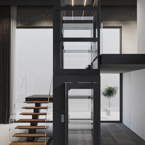 ascensor plataforma elevadora rodeado